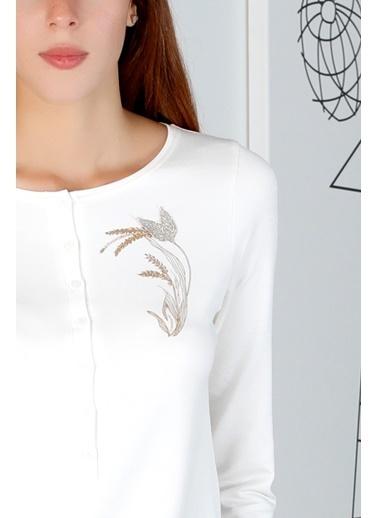 Hays Kadın Düğmeli Uzun Pijama Takımı Ekru